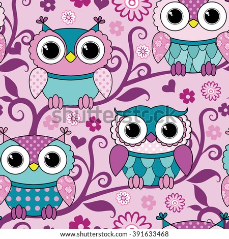 Vector seamless pink pattern with owls. Pink owls on tree. - stock vector