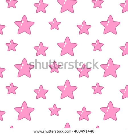 Vector seamless pink stars pattern.White background