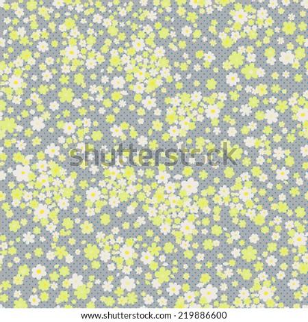 vector seamless polka dot cute little ditsy flower print - stock vector
