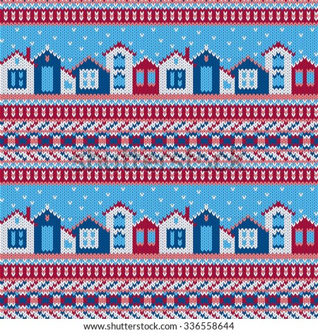Vector seamless red and blue Christmas knitted pattern with houses and snowflakes in ethnic style  - stock vector