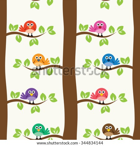 vector seamless repeating pattern with birds and trees - stock vector