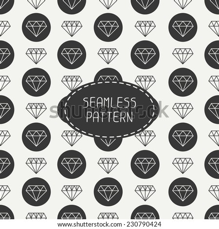 Vector seamless retro pattern with vintage hipster diamond. For wallpaper, pattern fills, web page background. Stylish texture. - stock vector
