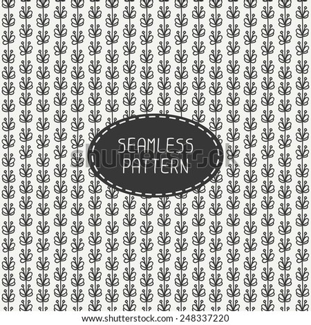 Vector seamless retro vintage hipster line pattern with flowers. Hand drawn doodles. Stylish graphic texture. For wallpaper, pattern fills, web page background, blog. - stock vector