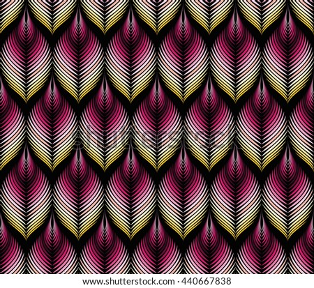 Vector seamless rhythmic fractal pattern. Rhythmical gradient purple, yellow fantasy stylized leaves. Art deco style. For textile, wrapping paper. Black background. Organic forms. Volume Illusion. - stock vector