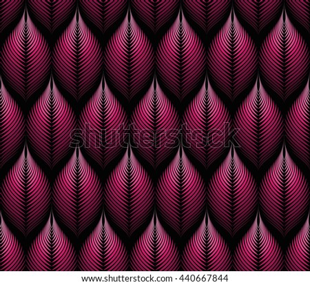 Vector seamless rhythmic fractal pattern. Rhythmical red gradient fantasy leaves. From pink to purple. Art deco style. For textile, fabric, wallpaper, wrapping paper. Organic forms. Illusion of volume - stock vector