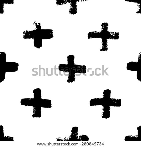 Vector seamless scandinavian pattern with calligraphic brush stroke cross. Minimal monochrome concept design. Use for fashion fabric print, surface texture, wedding card, web page background. - stock vector