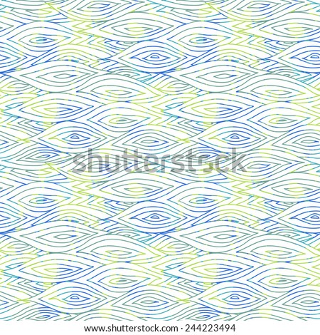 Vector seamless sea hand-drawn pattern, seamlessly tiling sketchy wave background. Original wallpaper, web page background design. Simple minimalistic grunge wave backdrop with paint stains. EPS10.