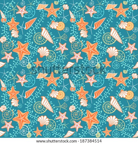 Vector seamless sea pattern. Blue background with seashells, starfish and algae. Texture for print, web - stock vector