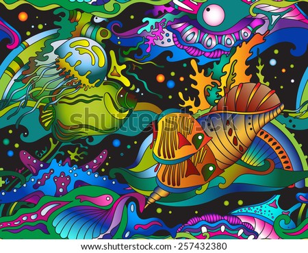 Vector seamless sea pattern with tropical fishes, stars, jellyfishes - stock vector