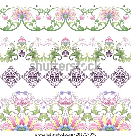 Vector seamless set of borders. Lotus flowers and leaves are painted by watercolor. Imitation of chinese porcelain painting.  - stock vector