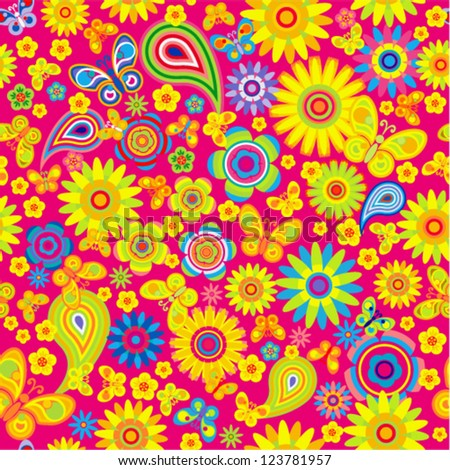 Vector seamless - spring flower pattern with butterfly