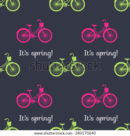 vector seamless spring pattern bikes - stock vector