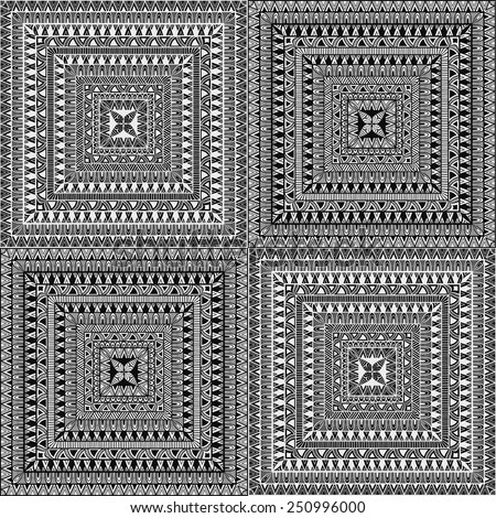 Vector Seamless Square Ethnic Patterns, seamless patterns in swatch menu, you can combine 2 patterns in own way - stock vector