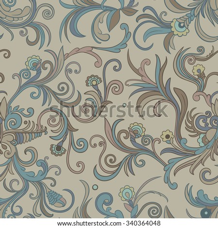 Vector seamless swirly floral pattern. Stylized flowers and leaves on a light beige background. - stock vector