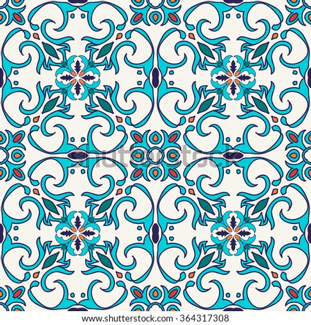 Vector seamless texture. Beautiful colored pattern for design and fashion with decorative elements. Portuguese tiles, Azulejo, Moroccan ornaments in blue and orange colors - stock vector