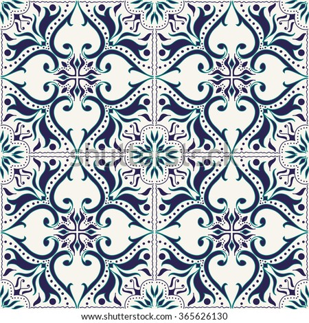 Vector seamless texture. Beautiful colored pattern for design and fashion with decorative elements. Portuguese tiles, Azulejo, Talavera, Moroccan ornaments in blue color
