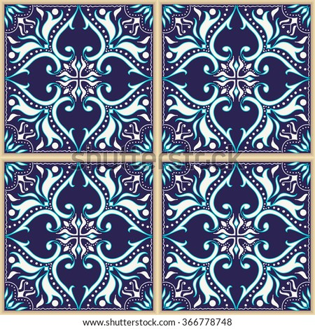 Vector seamless texture. Beautiful colored pattern for design and fashion with decorative elements. Portuguese tiles, Azulejo, Talavera, Moroccan ornaments in blue colors - stock vector