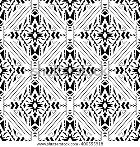 Vector seamless texture. Black and white tribal geometric pattern. Aztec ornamental style. Ethnic native american indian ornaments - stock vector
