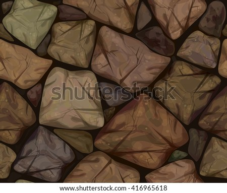 Vector seamless texture brown stonewall. - stock vector