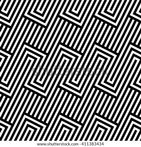 Vector seamless texture. Modern abstract background. Monochrome geometric pattern with rectangles on the background of oblique strips.