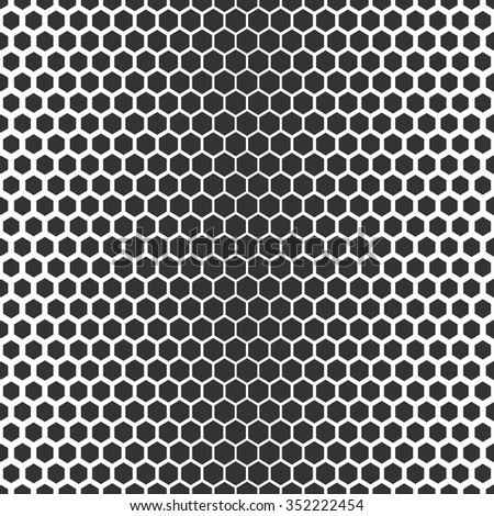 Vector seamless texture. Modern abstract background. Monochrome repeating pattern of hexagons of various sizes.