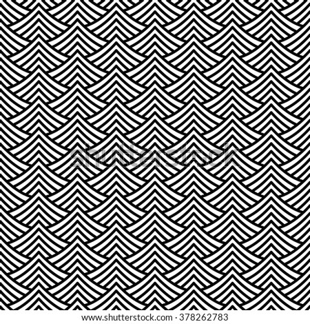 Vector seamless texture. Modern geometric background. Repeated monochrome pattern with abstract waves.