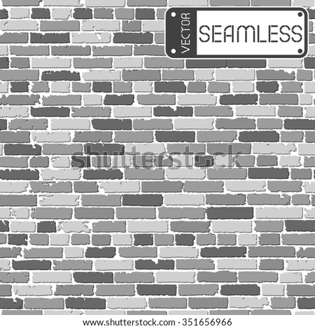 Vector Seamless Texture Of Black And White Realistic Old Brick Wall With Shadows Illustration