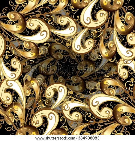 Vector seamless texture on vintage style. Abstract background with golden elements. Symmetrical elements on a black background.