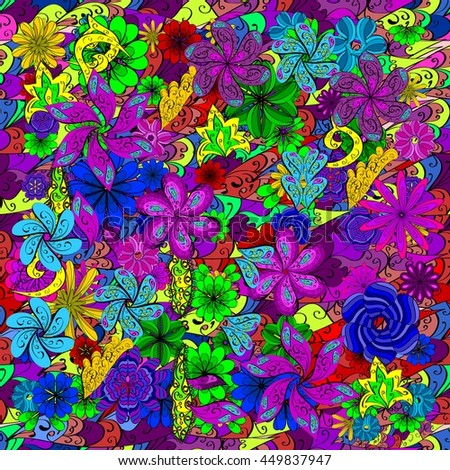 Vector seamless texture with abstract doodles flowers.