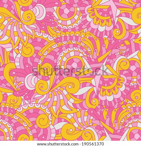 Vector seamless texture with abstract flowers. Illustration