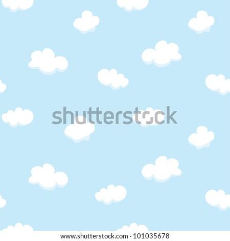 Vector seamless texture with cartoon clouds - stock vector