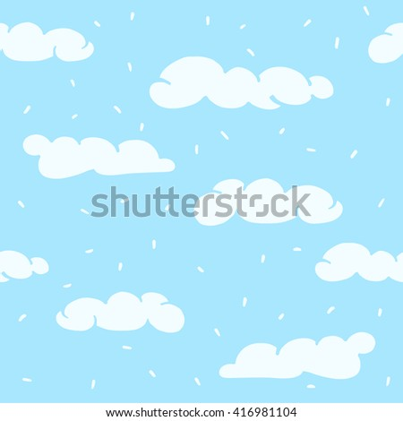 Vector seamless texture with cartoon clouds.  Perfect for wrapping paper, textile, greeting cards, party invitations, web pages, surface textures.  Vector illustration. - stock vector