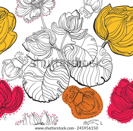 Vector seamless texture with water lily flowers and leaves and water bugs in art-nouveau style - stock vector