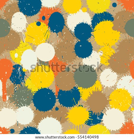Vector seamless tile of colorful paints drops