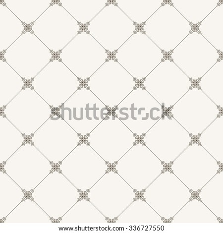 Vector seamless tile pattern. Modern stylish texture. Geometric with dotted rhombus in vintage floral style - stock vector