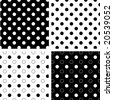 vector - Seamless Tiles, Black and White Polka Dots on reverse backgrounds.  EPS8 includes 4 pattern swatches (tiles) that will seamlessly fill any shape. - stock photo