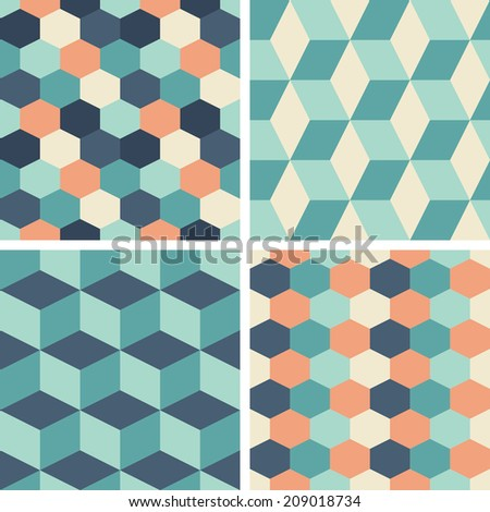 Vector seamless tiling patterns - geometric. For printing on fabric, scrapbooking, gift wrap. - stock vector
