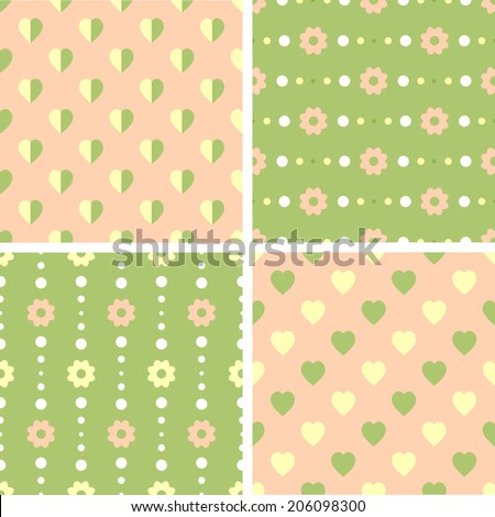 Vector seamless tiling patterns - romantic flowers. For printing on fabric, scrapbooking, gift wrap.