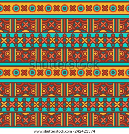 Vector seamless traditional ethnic pattern. Colorful folkloric textile design