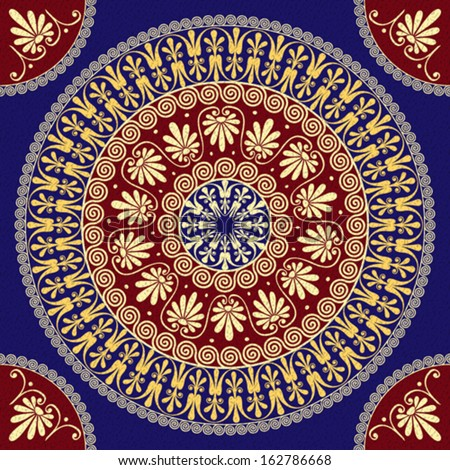 Vector seamless Traditional vintage golden round Greek ornament (Meander) and floral pattern on a red and blue background - stock vector