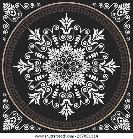 Vector Seamless Traditional vintage white Greek ornament (Meander) and wave pattern on a black background - stock vector
