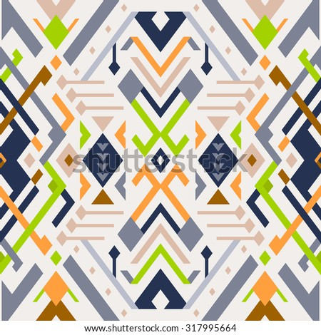 Vector Seamless Tribal Pattern. Ethnic Print Ornament with Triangles, Stripes and Rhombuses - stock vector