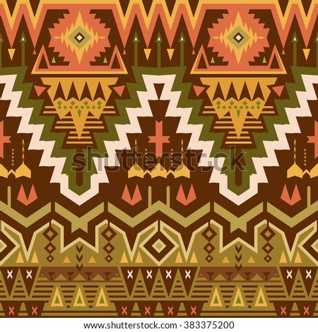 Vector Seamless Tribal Pattern for Textile Design. Geometrical Ethnic Ornament with Triangles, Rhombuses and Stripes - stock vector