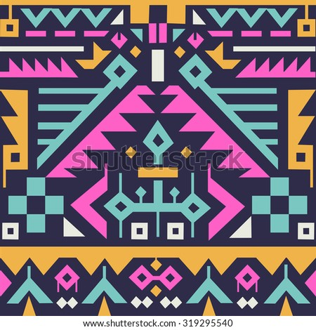 Vector Seamless Tribal Pattern for Textile Design. Geometrical Ethnic Print Ornament with Mix of Rhombuses, Triangles and Stripes - stock vector