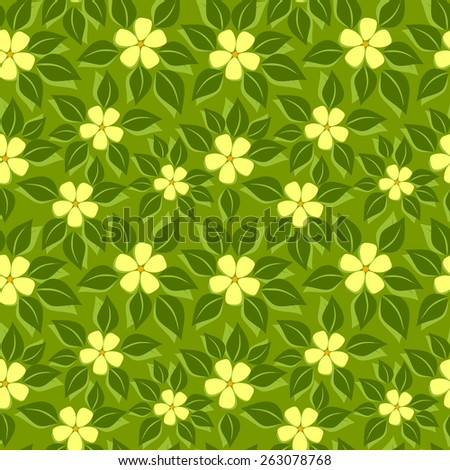 Vector seamless tropical floral pattern - stock vector