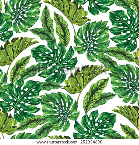 vector seamless tropical leaves pattern. strong greens leaves of exotic monstera plant. retro style illustration. - stock vector