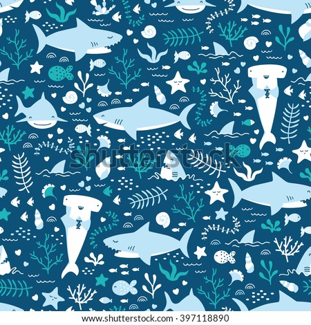 Vector seamless underwater pattern with cute sharks - stock vector