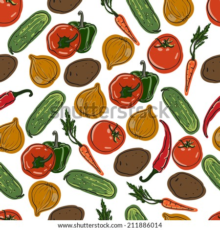 vector seamless vegetables colorful pattern - stock vector