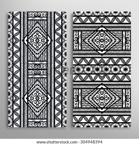 Vector seamless vertical patterns set with hand drawn texture for Cards or Invitations. Fabric or paper print, fashion illustration. Black and white abstract geometric background. - stock vector