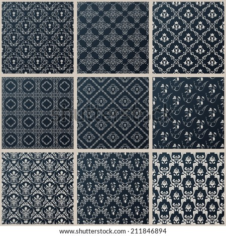 Vector seamless vintage backgrounds. Abstract set black baroque Pattern - stock vector